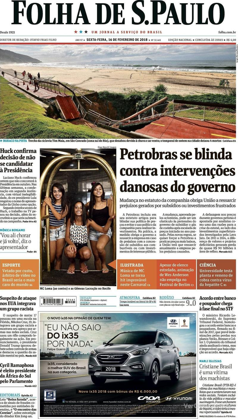 Capa do jornal Folha de S.Paulo 16/02/2018