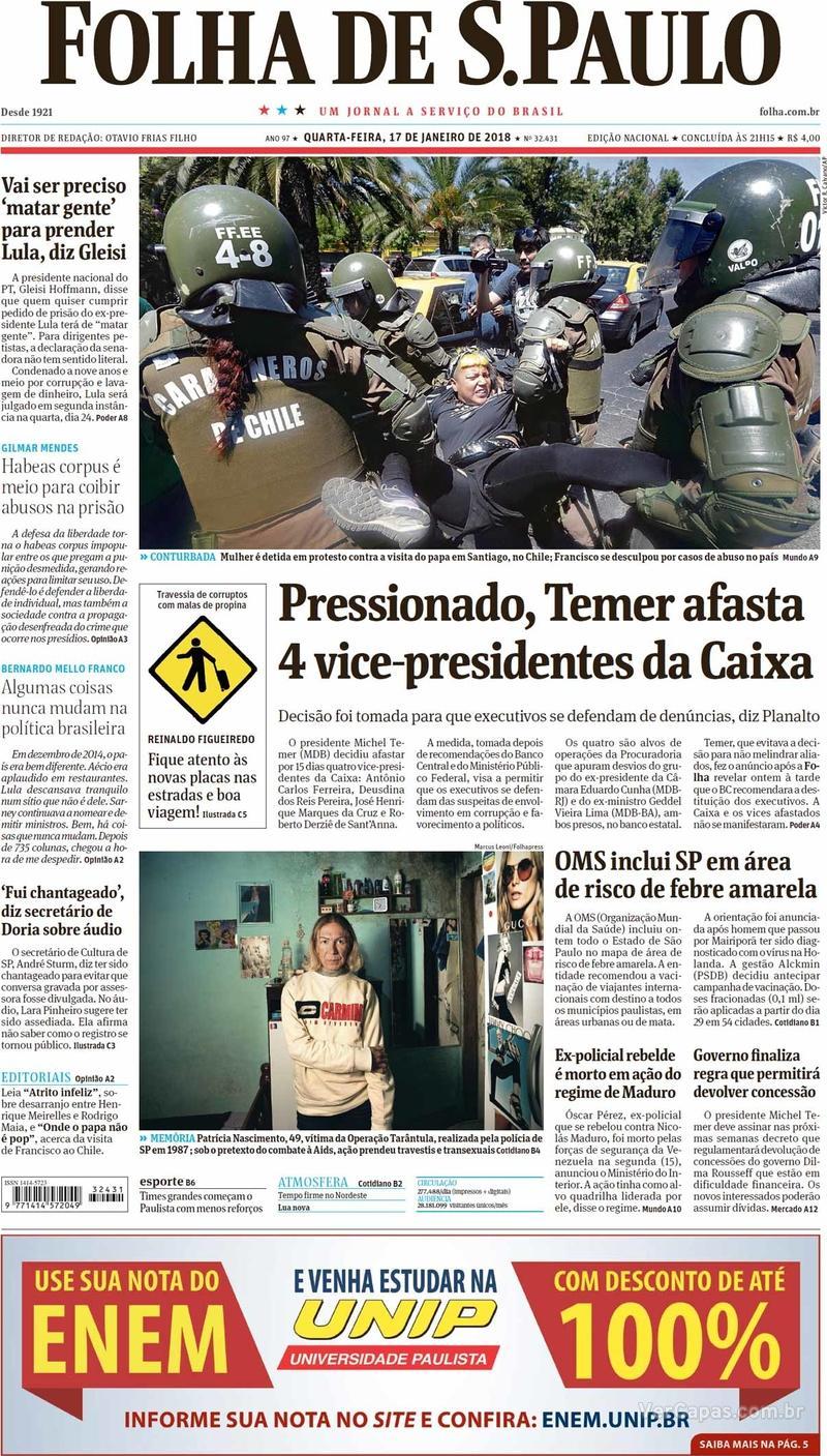 Capa do jornal Folha de S.Paulo 17/01/2018