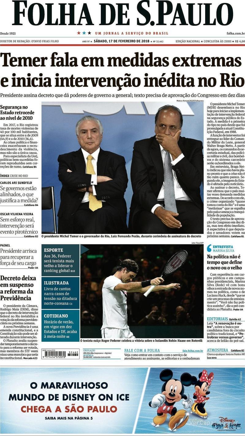 Capa do jornal Folha de S.Paulo 17/02/2018