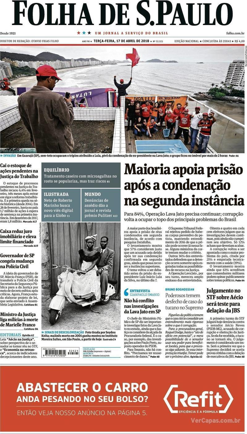 885a64e7c2 Capa - Folha de S.Paulo. Edição de Terça,17 de Abril de 2018
