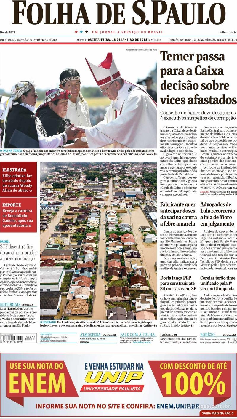Capa do jornal Folha de S.Paulo 18/01/2018