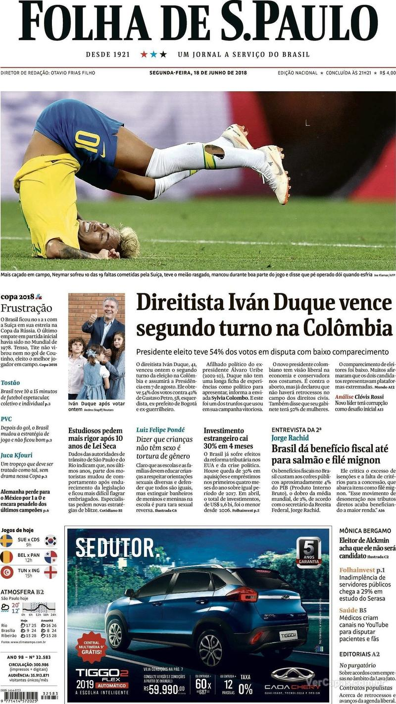 Capa Folha de S.Paulo 2018-06-18