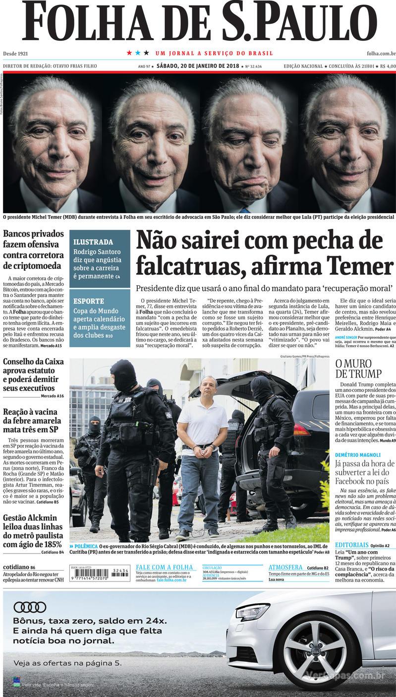 Capa do jornal Folha de S.Paulo 20/01/2018