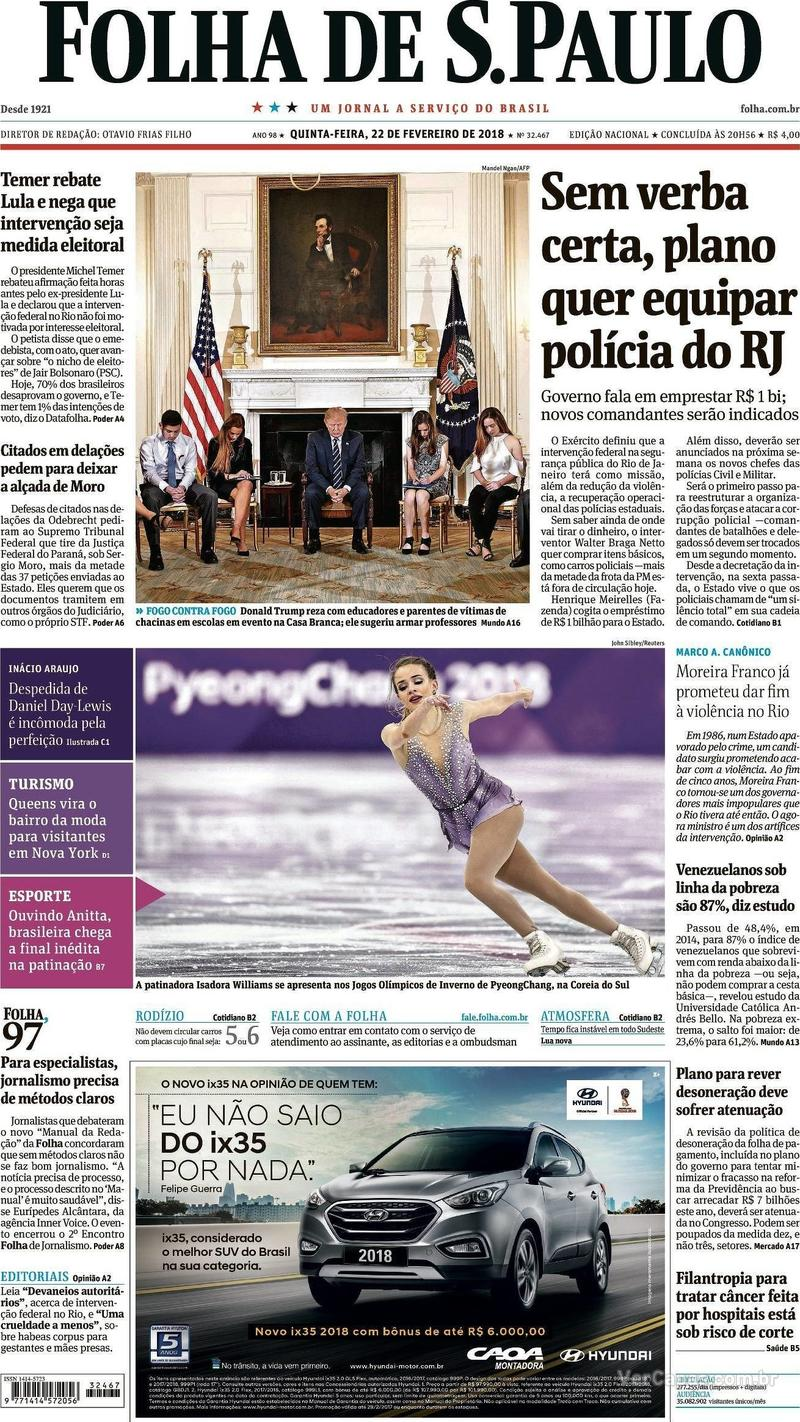 Capa do jornal Folha de S.Paulo 22/02/2018