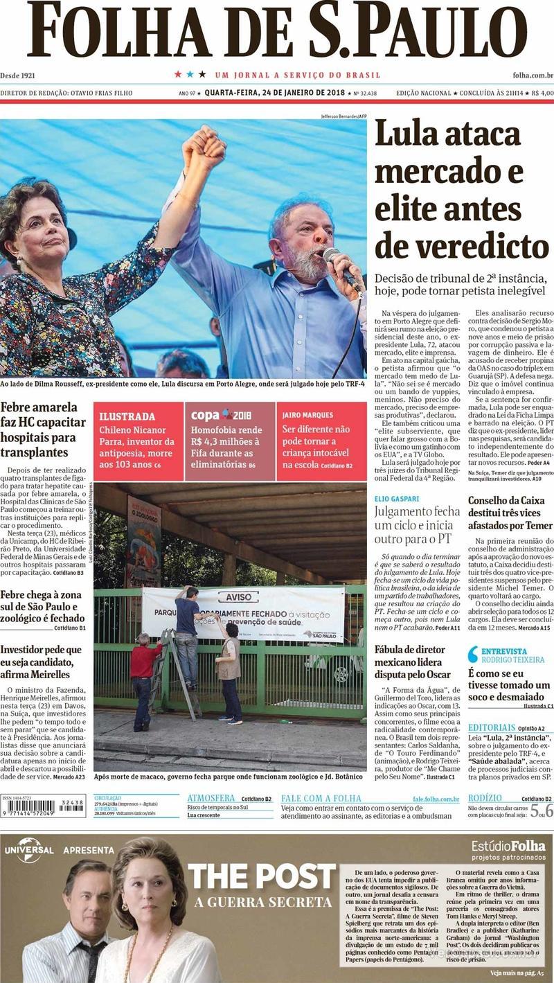 Capa do jornal Folha de S.Paulo 24/01/2018
