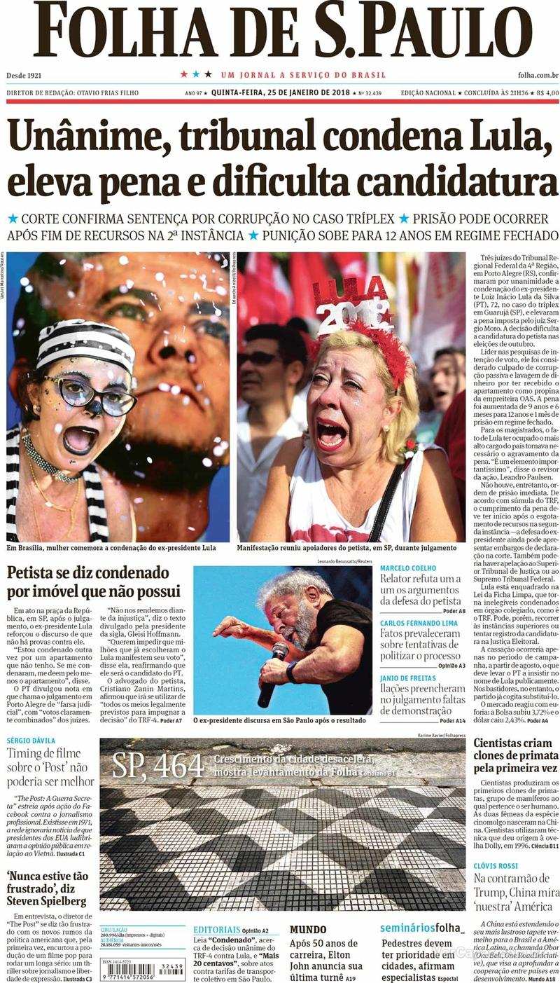 Capa do jornal Folha de S.Paulo 25/01/2018