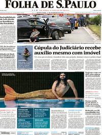 Capa do jornal Folha de S.Paulo 01/02/2018
