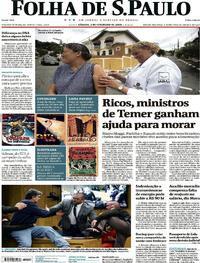 Capa do jornal Folha de S.Paulo 03/02/2018