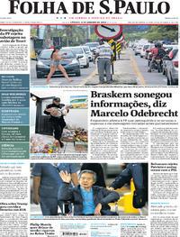 Capa do jornal Folha de S.Paulo 07/01/2018