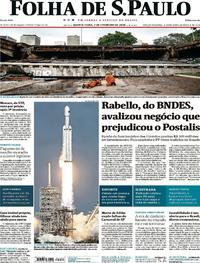Capa do jornal Folha de S.Paulo 07/02/2018