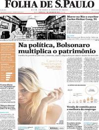 Capa do jornal Folha de S.Paulo 08/01/2018