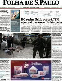 Capa do jornal Folha de S.Paulo 08/02/2018