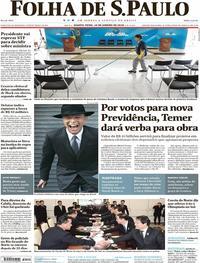 Capa do jornal Folha de S.Paulo 10/01/2018