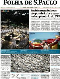 Capa do jornal Folha de S.Paulo 10/02/2018