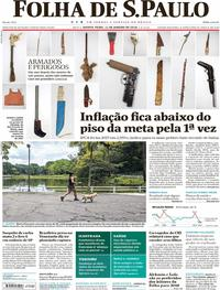 Capa do jornal Folha de S.Paulo 11/01/2018