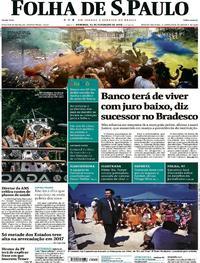Capa do jornal Folha de S.Paulo 11/02/2018