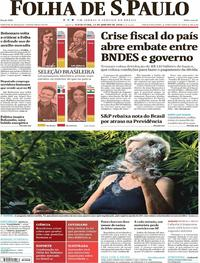 Capa do jornal Folha de S.Paulo 12/01/2018