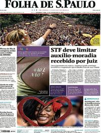 Capa do jornal Folha de S.Paulo 12/02/2018