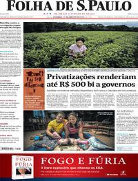 Capa do jornal Folha de S.Paulo 14/01/2018