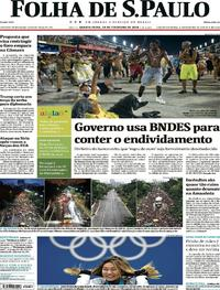 Capa do jornal Folha de S.Paulo 14/02/2018