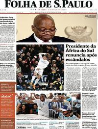 Capa do jornal Folha de S.Paulo 15/02/2018
