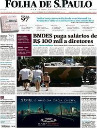 Capa do jornal Folha de S.Paulo 18/02/2018