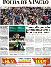 Capa do jornal Folha de S.Paulo 19/01/2018