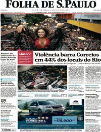 Capa do jornal Folha de S.Paulo 19/02/2018