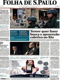 Capa do jornal Folha de S.Paulo 20/02/2018