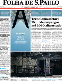 Capa do jornal Folha de S.Paulo 21/01/2018