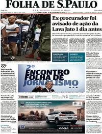 Capa do jornal Folha de S.Paulo 21/02/2018