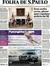 Capa Folha de S.Paulo 2018-02-22