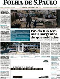 Capa Folha de S.Paulo 2018-02-23