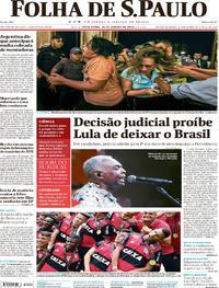 Capa do jornal Folha de S.Paulo 26/01/2018
