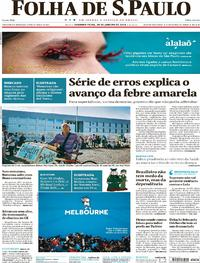 Capa do jornal Folha de S.Paulo 29/01/2018