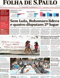 Capa do jornal Folha de S.Paulo 31/01/2018