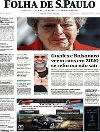 Capa Jornal Folha de S.Paulo 25/05/2019
