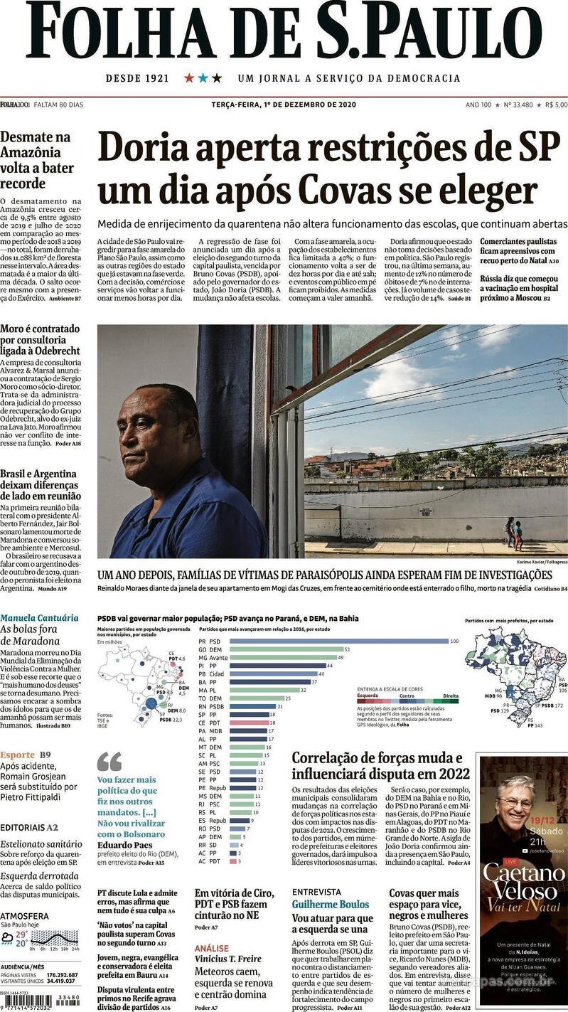 Capa do jornal Folha de S.Paulo 01/12/2020
