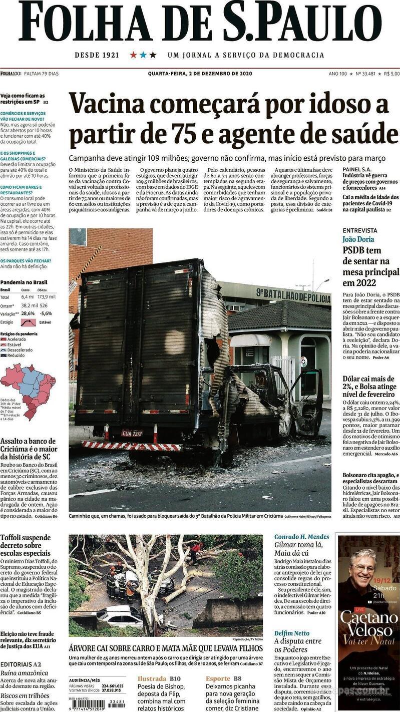 Capa do jornal Folha de S.Paulo 02/12/2020