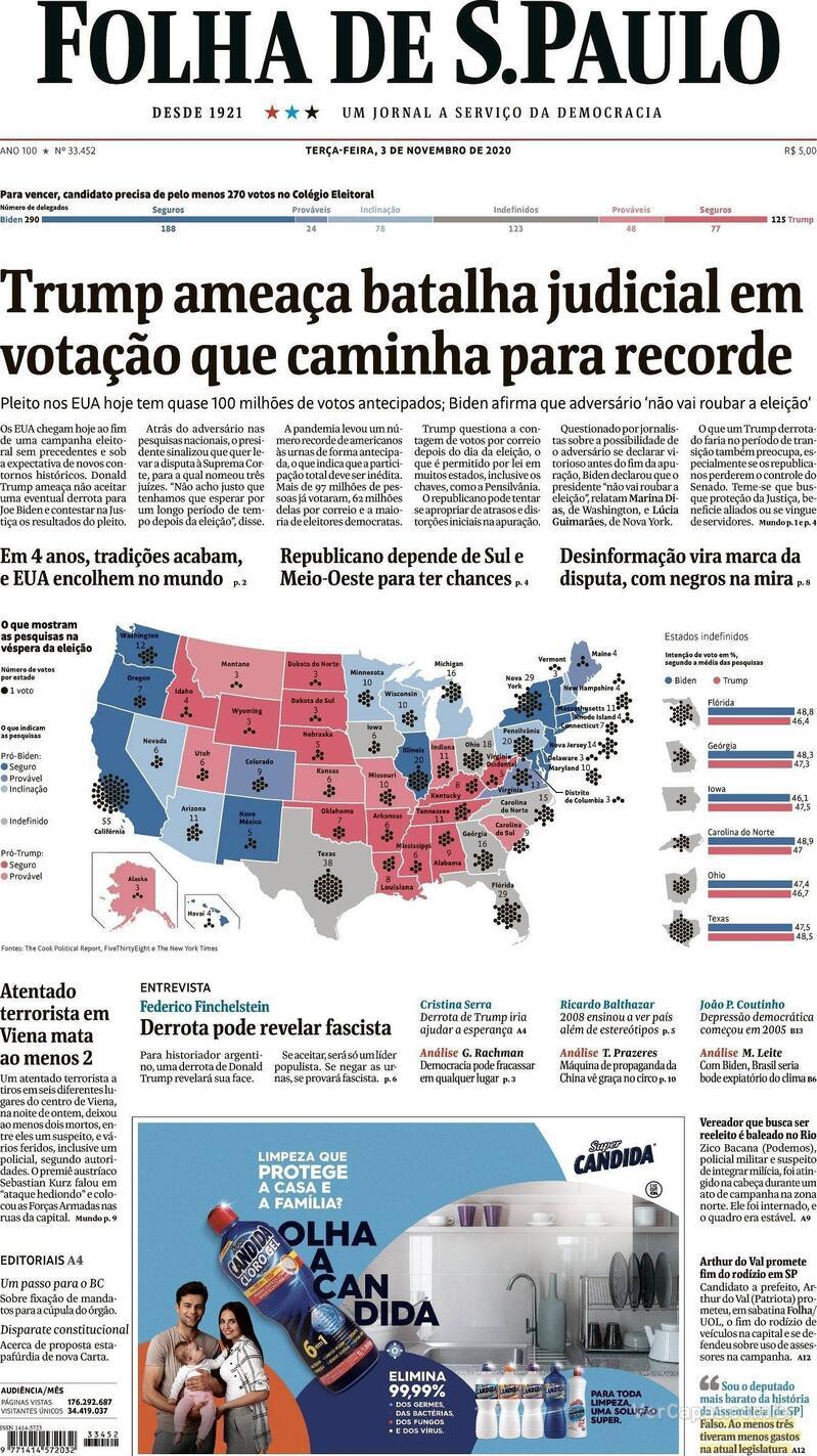 Capa do jornal Folha de S.Paulo 03/11/2020