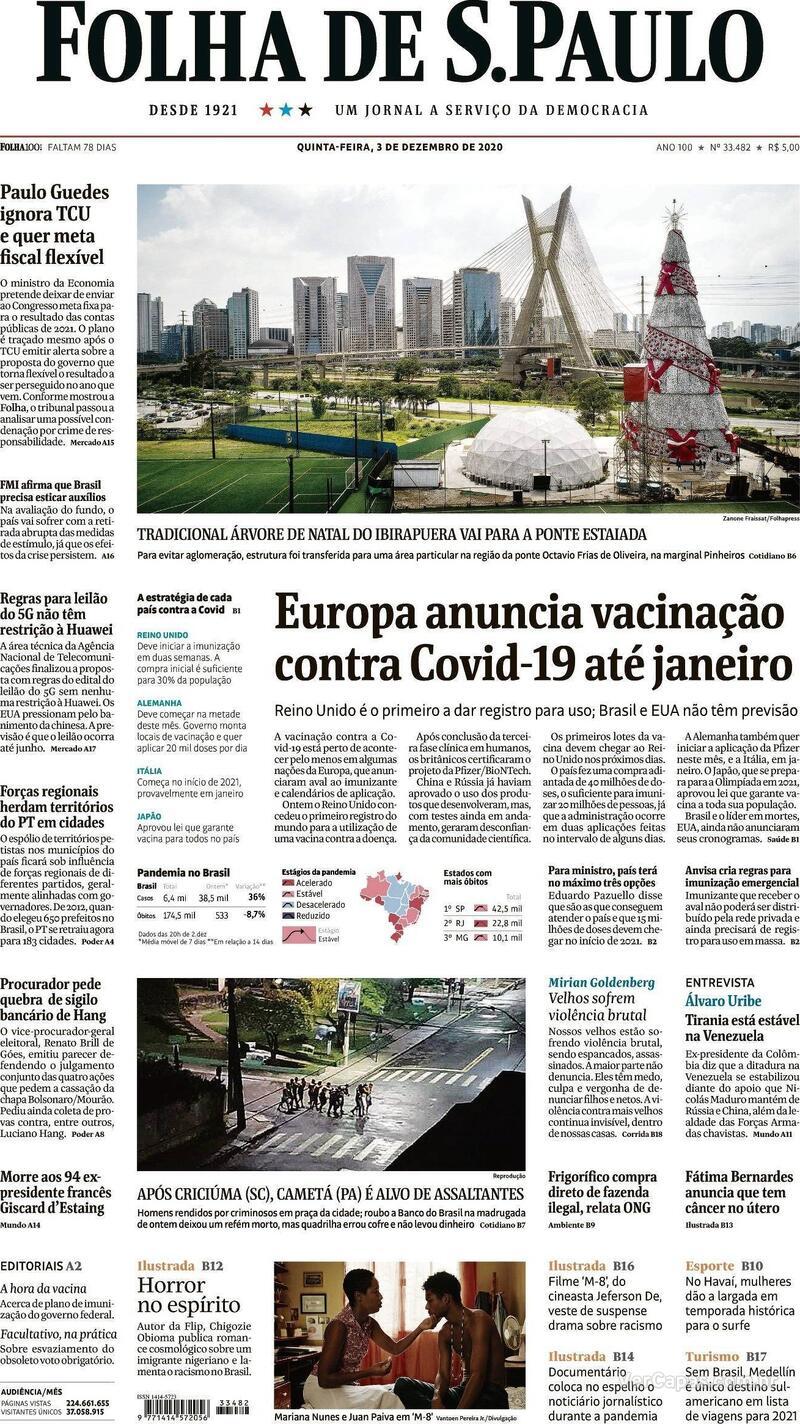 Capa do jornal Folha de S.Paulo 03/12/2020