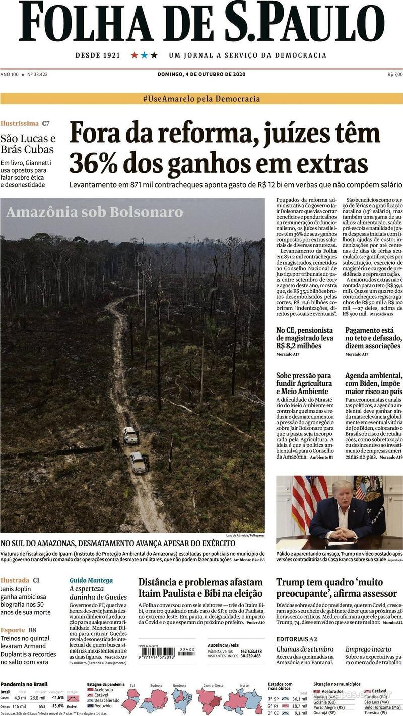 Capa do jornal Folha de S.Paulo 04/10/2020