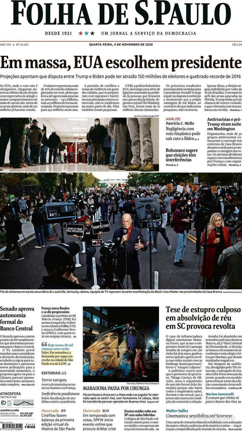 Capa do jornal Folha de S.Paulo 04/11/2020