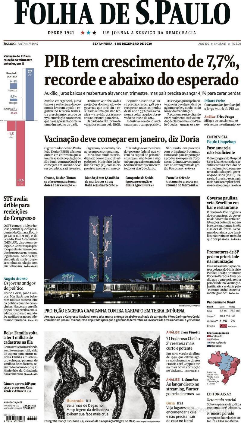 Capa do jornal Folha de S.Paulo 04/12/2020