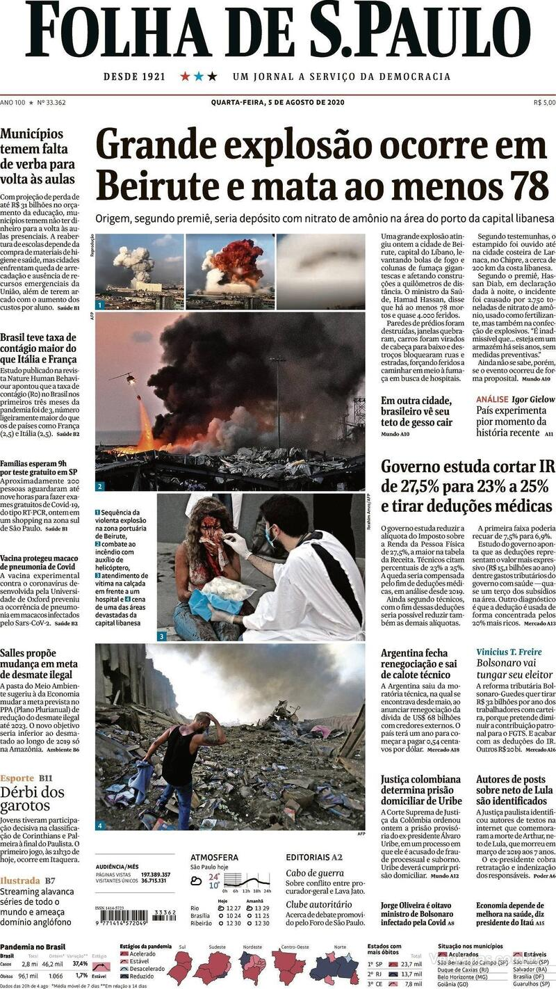 Capa do jornal Folha de S.Paulo 05/08/2020
