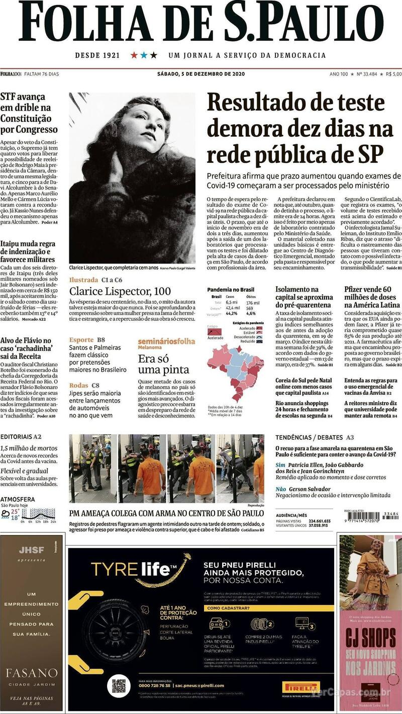 Capa do jornal Folha de S.Paulo 05/12/2020