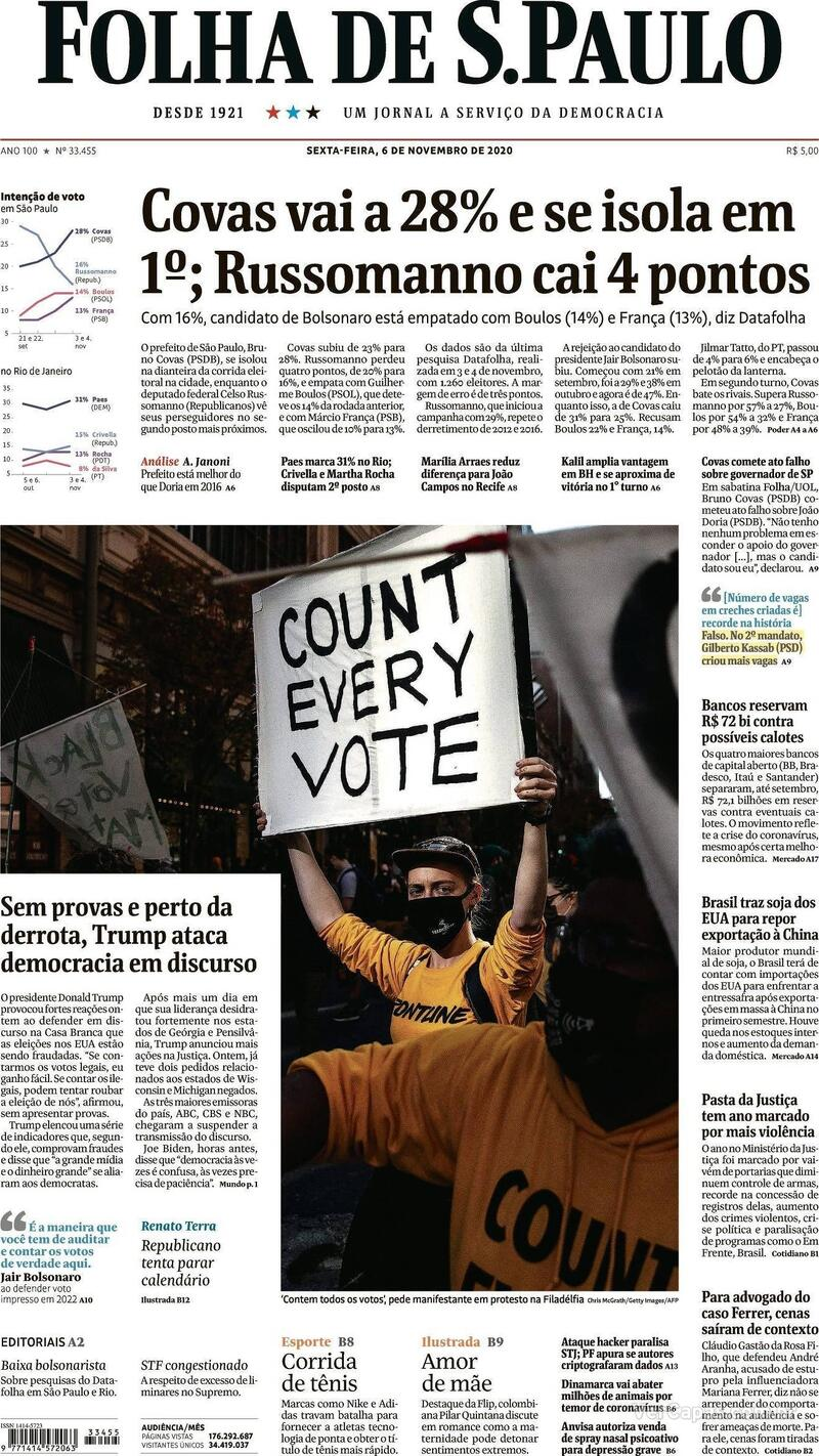 Capa do jornal Folha de S.Paulo 06/11/2020