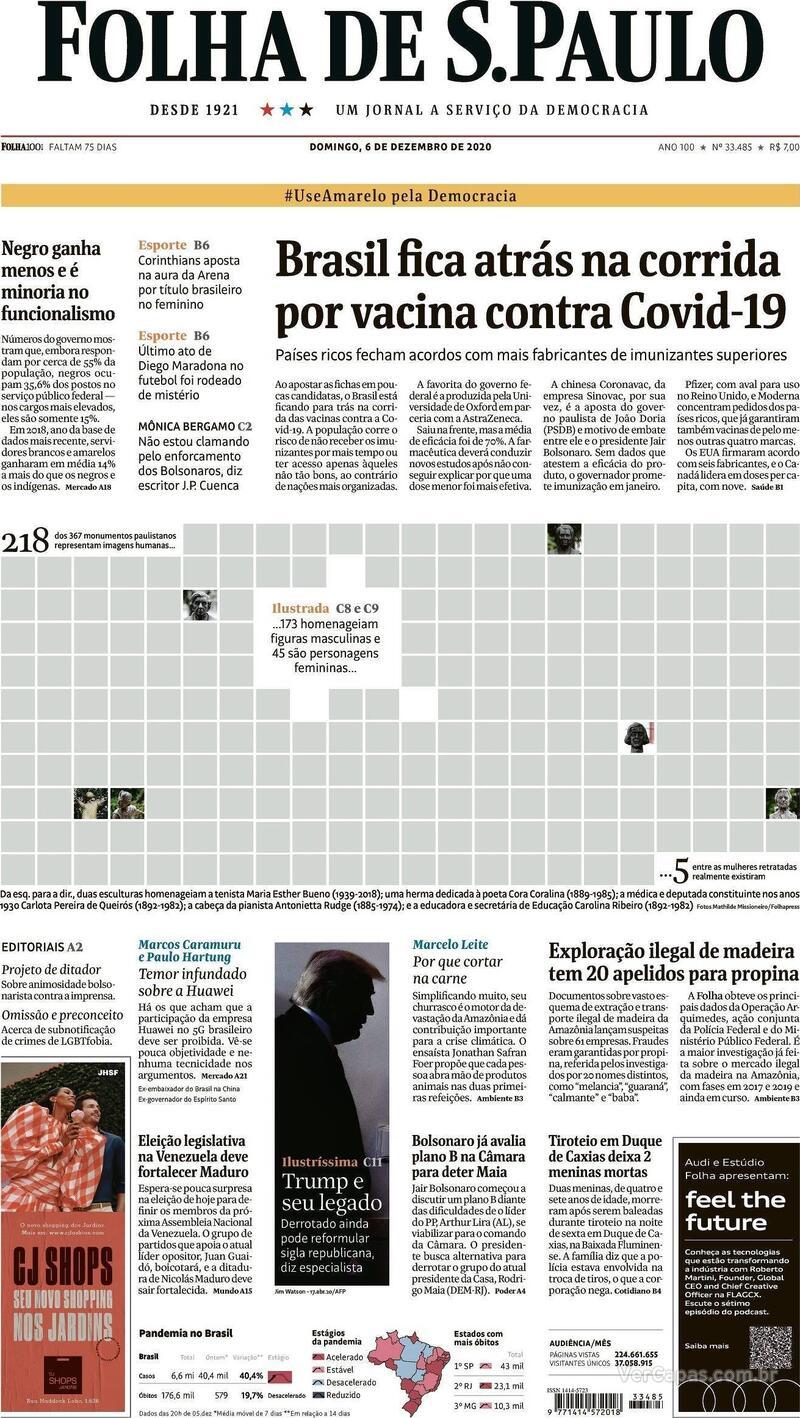 Capa do jornal Folha de S.Paulo 06/12/2020