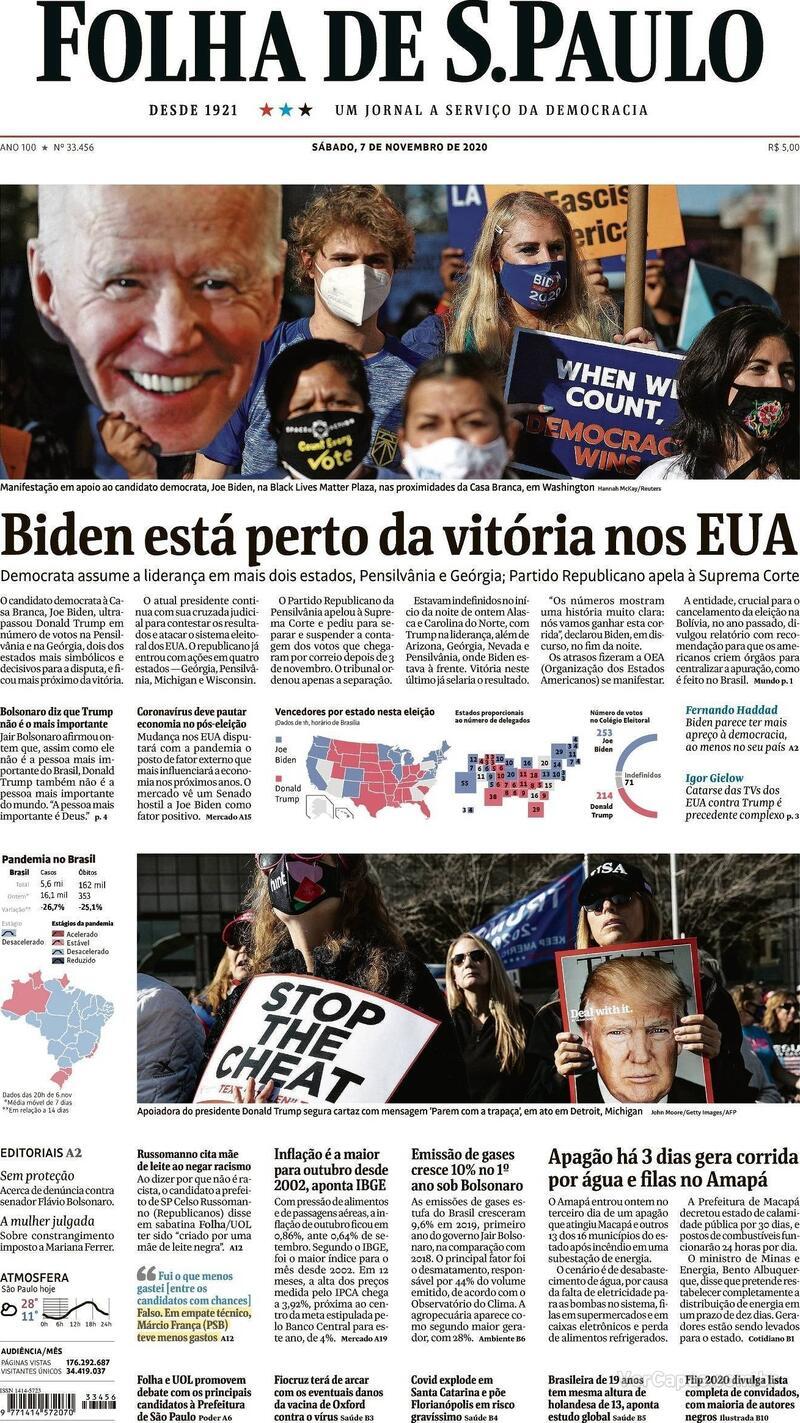 Capa do jornal Folha de S.Paulo 07/11/2020