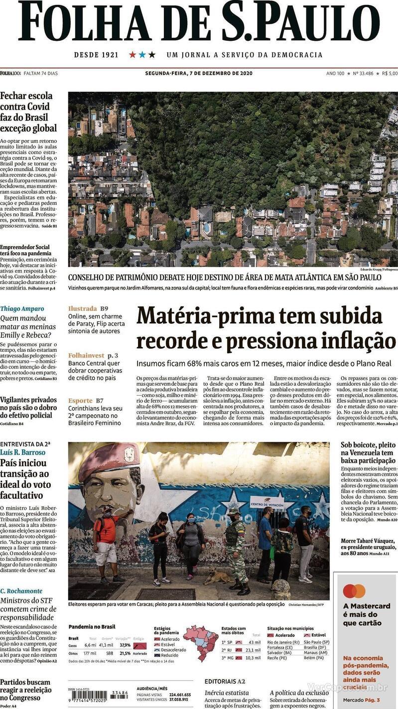 Capa do jornal Folha de S.Paulo 07/12/2020